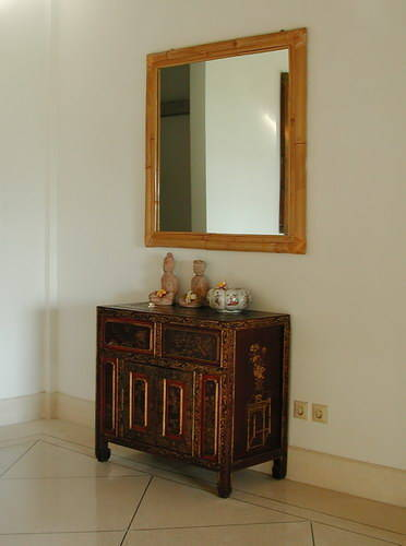 Teak mirror and cupboard stand