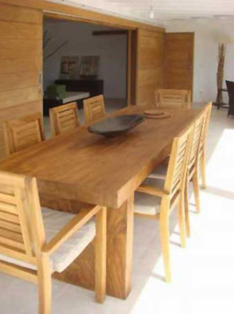teak table an chairs for outdoor terrace