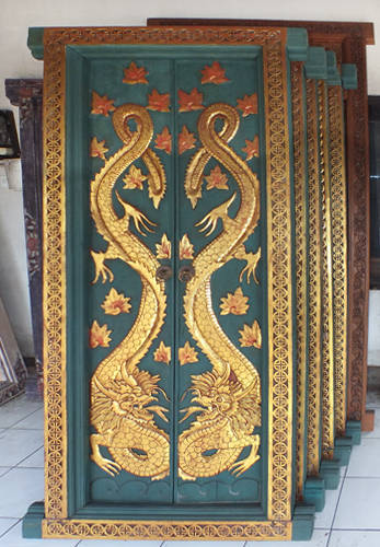 Balinese double door in light wood with dragon gold carving and painting