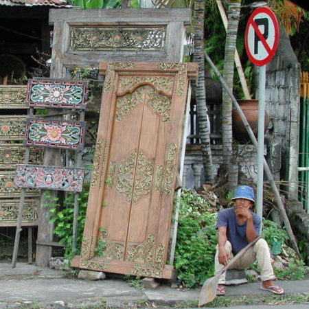 Balinese temple double door with carvings