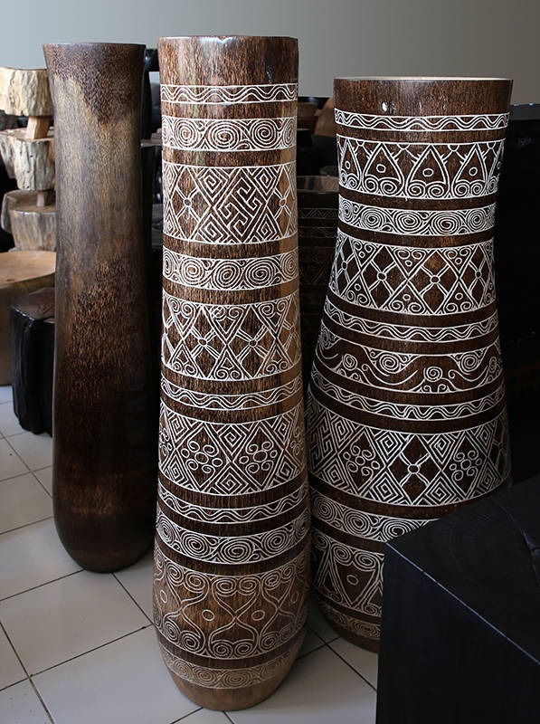 carved tall pots or vases
