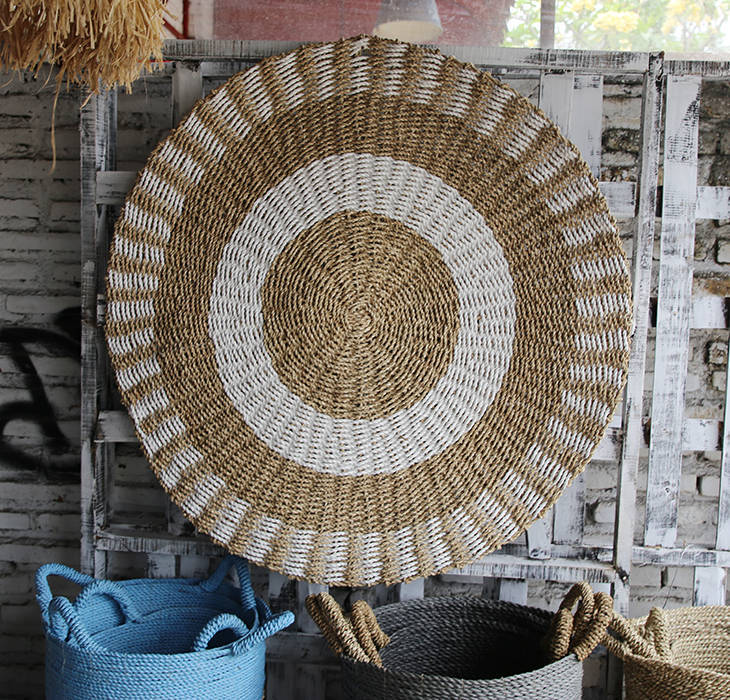 handmade rug circle pattern made from natural fibers