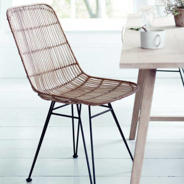 rattan woven chair with iron frame